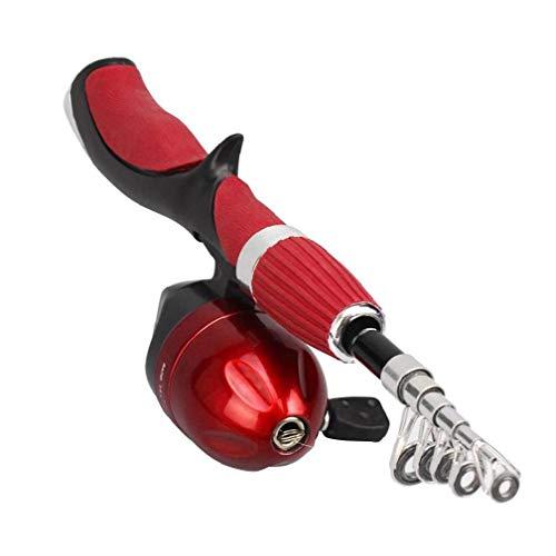 Telescópica De Carbono Caña De Pescar Y Carrete De Giro, Caña De Pescar Conjunto De Conjunto, De 1,2 M Pesca Spinning Carrete Gear Rojo Set