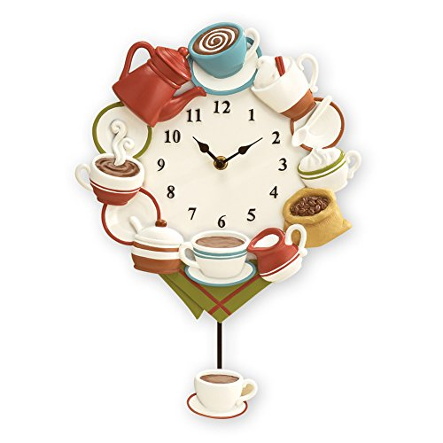 Collections Etc Coffee Cup Pendulum Wall Clock Kitchen Decor