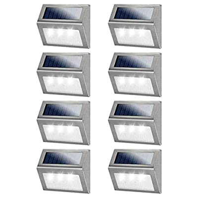 Solar Step Lights, Meio LED Solar Powered Super Bright Weatherproof Outdoor Lighting for Steps Stairs Paths Patio Decks