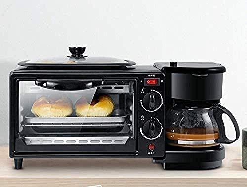YYhkeby Mini 3 en 1 Tostadora eléctrica Desayuno máquina Multifuncional Cafetera sartén Mini Horno Horno de Pizza Pan del hogar Jialele
