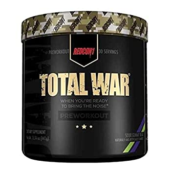 Redcon1 Total War - Pre Workout Powder 30 Servings  Sour Gummy  Boost Energy Increase Endurance and Focus Beta-Alanine 350mg Caffeine Citrulline Malate Nitric Oxide Booster - Keto Friendly