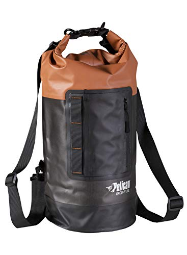 Pelican Waterproof Dry Bag - Exodry - Thick & Lightweight - Roll Top Dry Compression Sack Keeps Gear Dry for Kayaking, Boating, Beach, Rafting, Hiking, Camping and Fishing (20L), Terra/Black/Gray