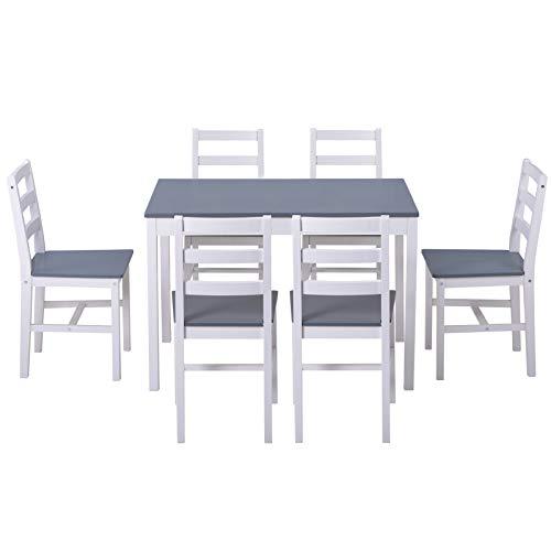 Juego de mesa de comedor de madera, mesa moderna y silla con 6 sillas, 7 piezas, para cocina, sala de estar y comedor, gris y blanco