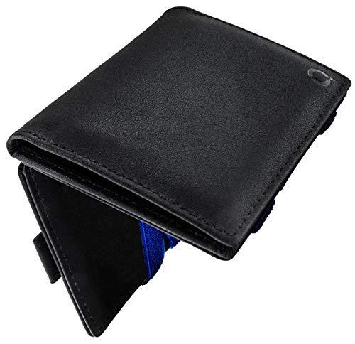 Switch One   Geldbeutel Herren   Magic Wallet mit Münzfach   RFID/NFC-Blocker   Schwarzes echtes Leder mit blauen Bändern in edler Geschenkbox Magischer Geldbeutel magisches Portmonaie Brieftasche