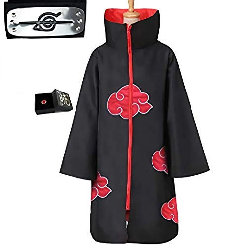 LUOWAN Capa de Akatsuki Itachi,Anime Naruto Akatsuki Uchiha Itachi Shuriken Frente Diadema Accesorios Trajes Cosplay Accesorios… (L)