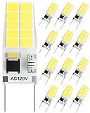 SHINESTAR 12-Pack Bright G8 LED Bulb Dimmable, 20W-25W Equivalent, 6000K Daylight, T4 Type Bi-Pin Base, Under Cabinet Light Bulb