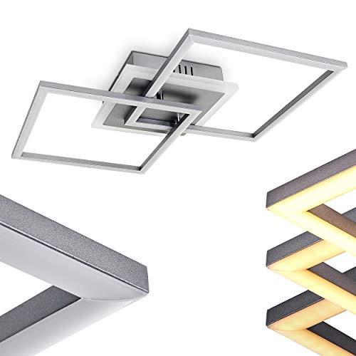LED Deckenleuchte Lithgow, eckige Deckenlampe aus Metall in Silber, 25 Watt, max. 2600 Lumen, Lichtfarbe 3000 Kelvin, dimmbar über den Lichtschalter ohne weiteres Zubehör
