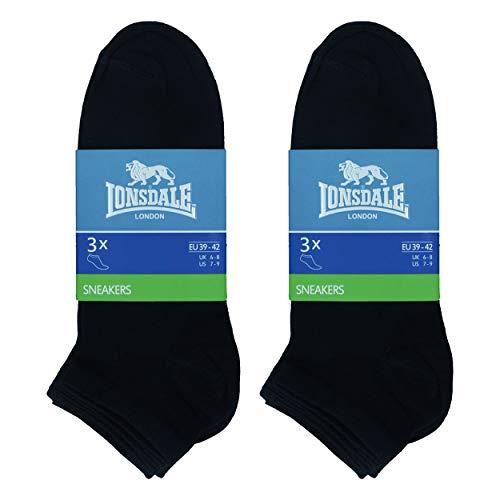 Lonsdale Sneaker 6 Paar Socken, Knöchelhöhe, ausgezeichnete Qualität aus mercerisierter Baumwolle (Schwarz, 43-46)