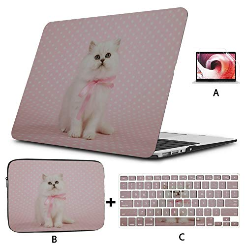 MacBook Pro 15 Case Bow Tie Cute Cat Domestic MacBook Pro Cases Hard Shell Mac Air 11'/13' Pro 13'/15'/16' with Notebook Sleeve Bag for MacBook 2008-2020 Version