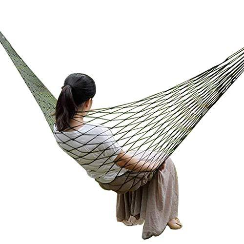 Livedealing Hamaca de jardín portátil de nailon para colgar, cama de malla, columpio para dormir al aire libre, viajes, camping, hamacas, Verde militar
