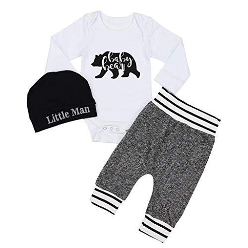 Jimmackey 3pcs Completini, Neonato Pagliaccetto Lettera Tutine Body + Striscia Pantaloni Cappello Vestiti (Bianco #1, 3-6 Mesi)