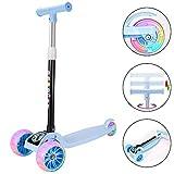 Youfen Kinder Roller Scooter - Kinderscooter Mädchen Jungen 3 bis 12 Jahren,Premium Blinkenden LED Räder Kickscooter Dreiräder mit 3 Höhenverstellbare und Faltbar Lenker (Blau)