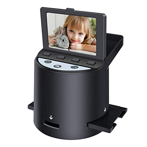 "Digital Film Scanner with 22MP, Converts 35mm, 126, 110, Super 8 Films, Slides, Negatives to JPEG, Tilt-Up 3.5"" LCD, Includes Cables, Film Inserts&More, MAC and PC Compatible"