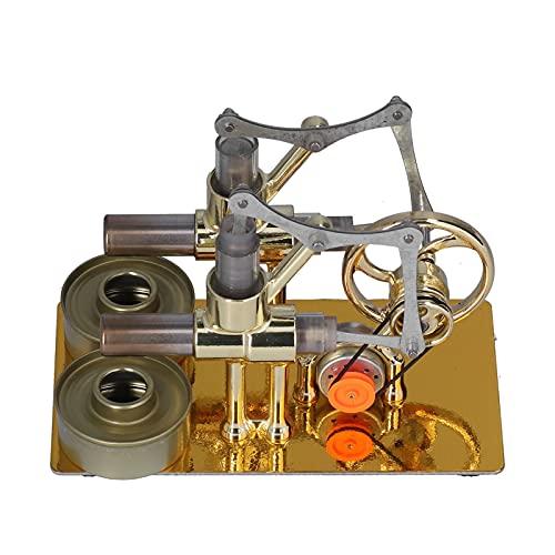 Motor Stirling de aire caliente, exquisito modelo de motor de juguete educativo, colorido juguete educativo de volante único LED RGB, modelo de generador de electricidad física para material didáctico