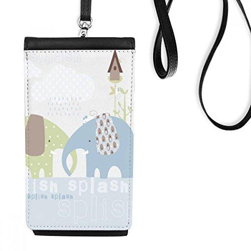 DIYthinker Splash Olifant Blauw Groen Regen Faux Leer Smartphone Hangende Handtas Zwart Telefoon Portemonnee Gift