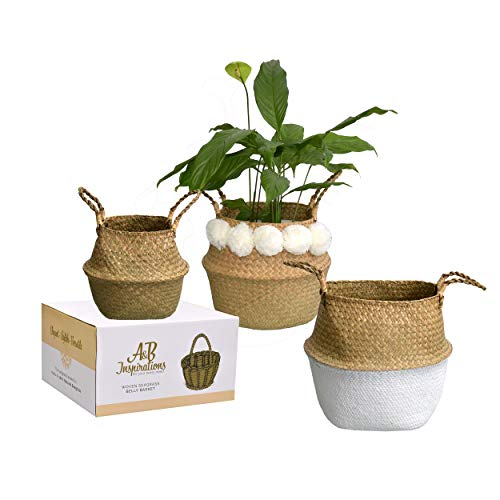 A&B Inspirations Seagrass Belly Basket - Set of 3 100% Natural Woven Belly Baskets for Home Decor -...