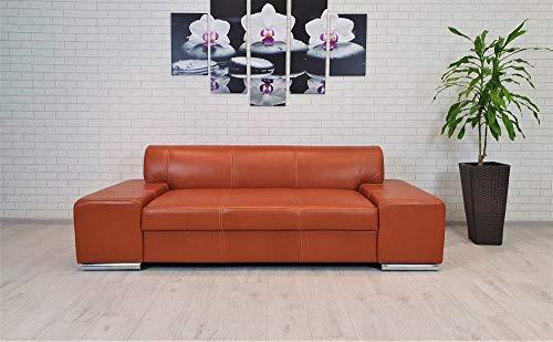 Quattro Meble Cognacfarbe Echtleder 2,5 Sitzer Sofa London Breite 220cm Ledersofa Echt Leder Couch viele Farben