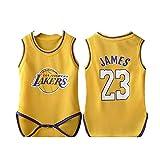 レイカーズ23#James Babyワンピースバスケットボールユニフォーム、ノースリーブベストスポーツサマースーツ(6〜30か月)、滑らかな丸首は着脱が