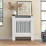 Cubierta para radiador KJ, cubierta de radiador, tablero de fibra de densidad media, cubierta para radiador de madera, estilo rústico, cubierta de radiador vertical, color blanco (78 x 19 x 82 cm)