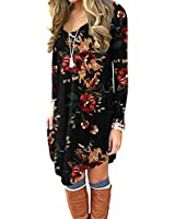 DEARCASE Women's Long Sleeve Casual Loose T_Shirt Dress Brown Floral Black XX_Large