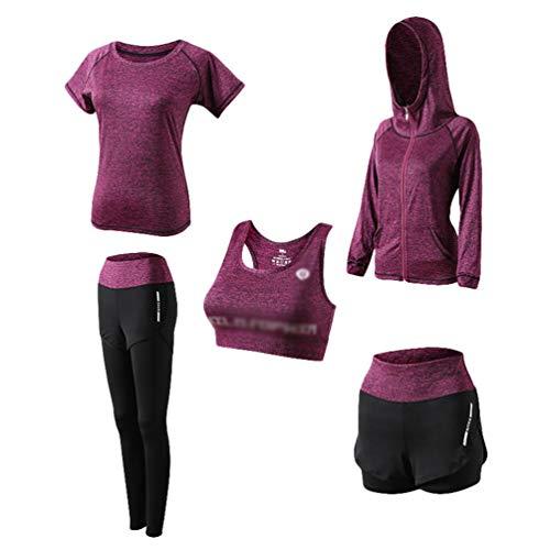 Kaiyei Conjunto Deportivo Mujer Fitness 5 Piezas Outfit Yoga Secado Rápido Elástico Suave Transpirable Jogging Gym Gimnasio Ciclismo Sport Camiseta+Sujetador+Pantalones Cortos+Polainas+Abrigo Morado S