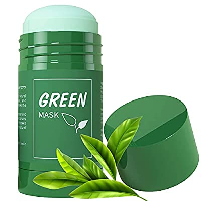 Green Tea Mask Stick for Face, Purifying Solid Clay Stick Mask, Blackheads Remover Acne Oil Control & Clean Pore for Women and Men