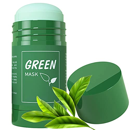 Green Tea Mask for Face, Purifying Solid Cleansing Clay Stick Mask, Blackheads Remover Anti Acne Oil Control & Deep Clean Pore Skincare for Women and Men