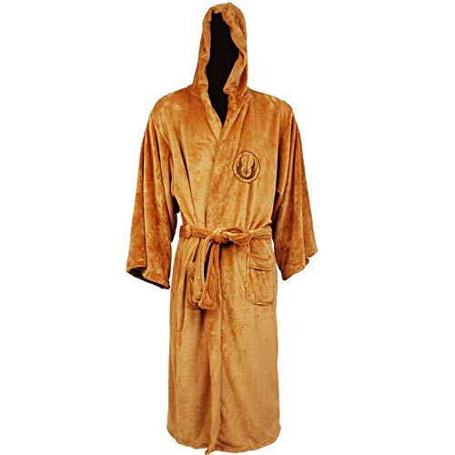 HUANGRONG Winter Bademantel Flanell-Robe Männlich Mit Kapuze Thick Star Wars Morgenmantel Jedi Reich Herren Bademantel Winter-Lange Robe Herren Bademantel Pyjamas (Color : Gold, Size : XL)