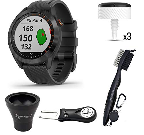Affordable Garmin Approach S40 GPS Golf Smartwatch with Included Wearable4U Golf Tools Kit Bundle (B...