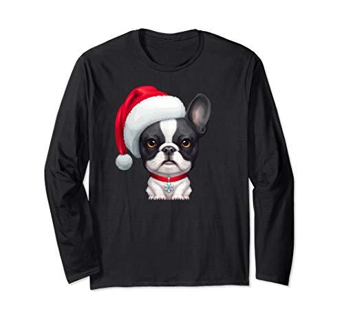 Brindle Pied French Bulldog in Santa Hat Christmas Long Sleeve T-Shirt