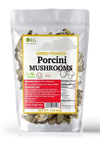 Orgnisulmte Dried Porcini Mushrooms Whole All Natural Authentic Gourmet Handpicked New Season French Wild Porcini Mushroom Premium Vacuum Pack 3Oz(85g)