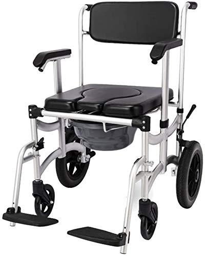 Silla de Ruedas eléctrica Plegable, Ducha asiento de la silla plegable de múltiples funciones con brazos con respaldo Diseño freno entera vestimenta de seguridad impermeables (Color: NEGRO, Tamaño: 87