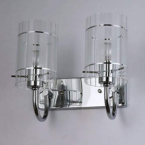 LHJCN Lámpara de Pared Industrial Elegante de 2 Luces Aplique de Pared Moderno E27 Linterna con Interruptor de Tiro Lámpara de Pared de Metal Cromado Iluminación Interior Decoración para Hard-wir