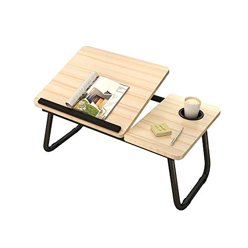 N / C Folding Laptop Desk For Bed, Large Folding Table, Couch Floor Sofa Desks with Cup Holder Chair Tray Work Home Homework Student Natural