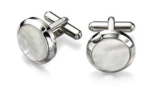 Preisvergleich Produktbild Fred Bennett Edelstahl für Wischmop Men's Edelstahl Manschettenknöpfe rund Weiß
