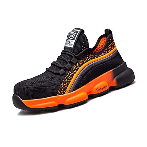 Aingrirn Zapatos de Seguridad Hombre Mujer, Zapatillas de Trabajo Ligeros y Transpirables Zapatos de Industria y Construcción Comodas (Color : Orange, Size : 42 EU)