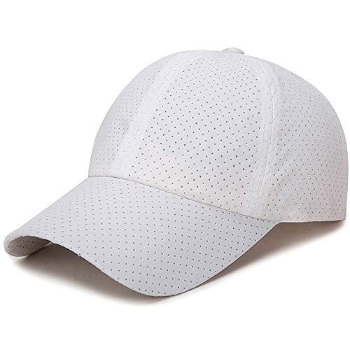 JJZD - Gorra de béisbol perforada, transpirable, para exteriores, secado rápido, para hombres y mujeres, informal, con parte superior vacía, color blanco