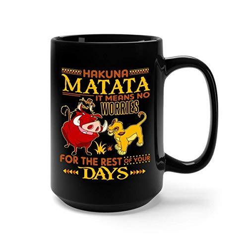 Hakuna matata significa que no te preocupes, la taza de café inspirada en el rey león - regalo negro para hija hijo sobrino sobrino amigo amante padres en el día de graduación cumpleaños de navidad ac