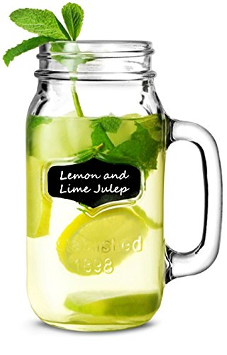 Circleware Yorkshire Mason Jar Mugs Glass with Fun Chalkboard and Handles Set of 4, 24 ounce, 4 Pieces of Chalk Included
