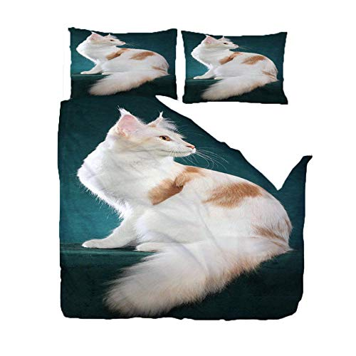 MEKVF Bedding Double Bed Duvet Cover 200x200cm Animal White Cat 3D Bedding Duvet Printed Quilt Cover With Zipper Soft Microfiber Anti-Mite Bedding With 2 Pillowcases