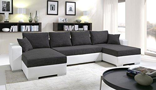 Tendencio Canapé d'angle en U Convertible Enno Tissu Noir et Simili Cuir Blanc. Coffre de Rangement