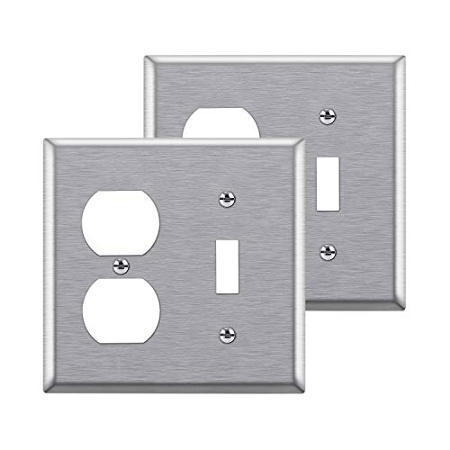 [2 Pack] BESTTEN 2-Gang Combination Metal Wall Plate, 1-Duplex/1-Toggle, Anti-Corrosion Stainless Steel Outlet and Switch Cover, Industrial Stainless Steel, Standard Size, Brushed Finish, Silver