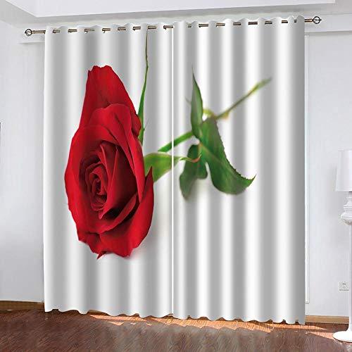 Ageeseso 3D Blackout Ösen Vorhang Gardine Verdunklungsgardine Kälte Und Wärmeisolierung Verdunklungsgardine Für Wohnzimmer Kinderzimmer Schlafzimmer Rote Pflanze Rose Blume 220(W) x215(H) cm Weihnac
