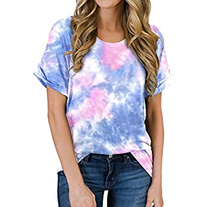 MIHOLL Women's Short Sleeve Shirts Summer Loose Casual T-Shirt Tops