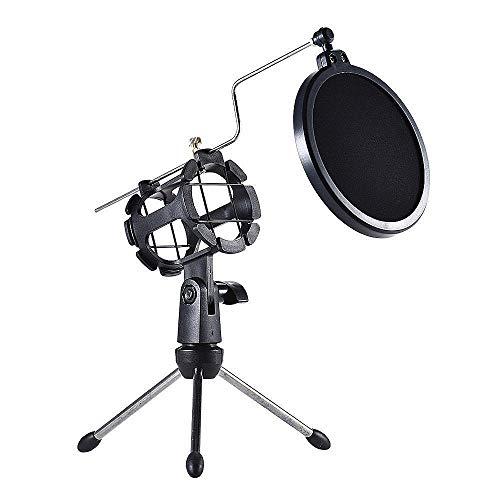 Docooler Instelbare microfoonstatief, microfoon, tafelstandaard, opvouwbare desktop microfoonhouder met Shock Mount Mic Holder Clip Pop Filter