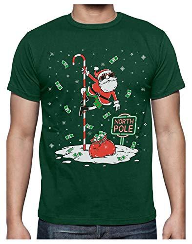 Green Turtle Camiseta para Hombre - Navidad Hombre Regalo Navidad Divertida - Santa North Pole Dancing - Medium...