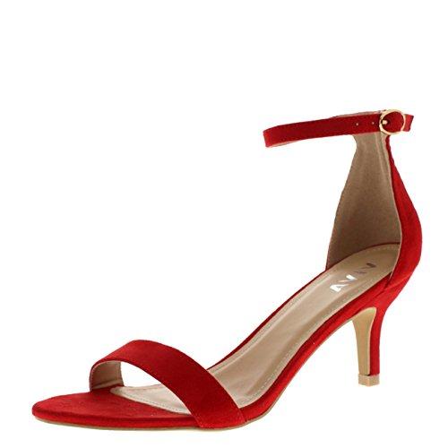 Mujer Bajo Gatito Talón Correa de Tobillo Ante Oficina Trabajo Noche Sandalia Zapatos - Rojo KL0339D 3UK/36