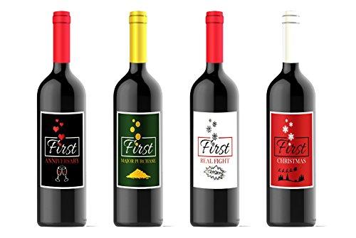 Wein Flasche Etiketten für eine Hochzeit, Ehe Firsts, Milestones–Set von 4(4,25x 5,5je)