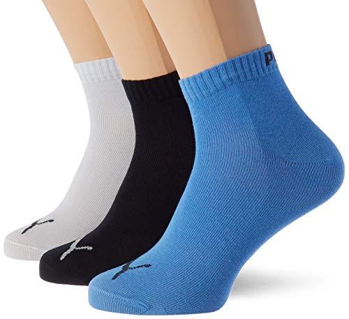 PUMA Kids' Quarter Socks (3 Pack) calcetines, Marina, 35-38 Unisex Niños