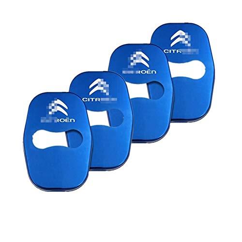4pcs Cromo Auto De La Cerradura De La Cubierta De Protección del Emblema De La Etiqueta Engomada Decoración para Citroen C5 C6 Logo C4L C3XR C4 C-Quatre Elíseo Picasso Molduras (Color : Azul)